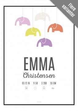 Fødselstavle med elefanter fra Designerblog