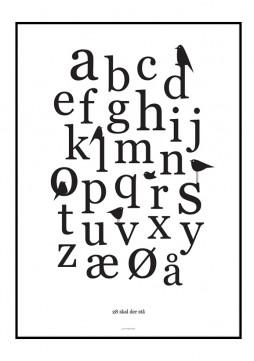 Plakat med bogstaver og fugle som grafik