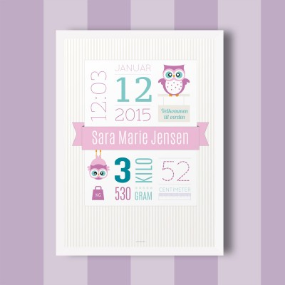 Fødselstavle til pige