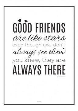 Grafisk plakat med typografisk opsat citat om venskab UK
