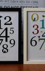 Grafiske plakater med tallene 0-9 og minimalistiske fugle