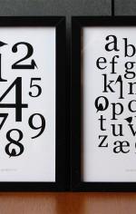 Grafiske plakater med tal, bogstaver og fugle
